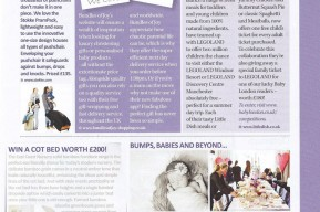 magazine article on newborn baby and baby shower photography showing a portrait photograph of a newborn baby sleeping in a blanket and a photo of baby shower party taken in London and Surrey UK by newborn photographer Claire Greenway