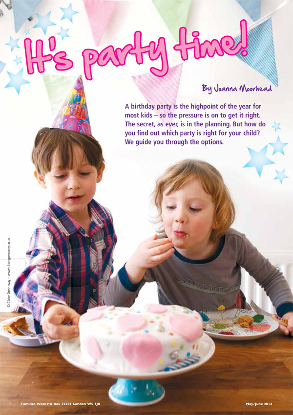 Child photograph in lifestyle editorial portrait style by London family photographer Claire Greenway inside West London family and child magazine London West Families showing 2 children eating birthday cake at a kids