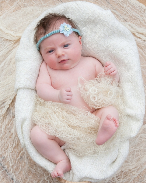 6 weeks old baby girl in basket and blue headband at a family portrait shoot in North London